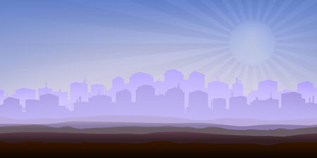 plains: Foggy city panorama (other landscapes are in my gallery) Illustration
