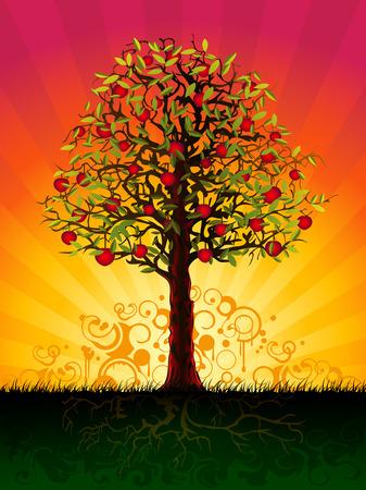apfelbaum: Apfelbaum in den Abend (andere Landschaften sind in meiner Galerie)