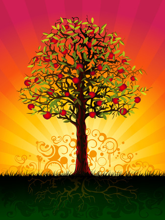 Apple tree in the evening (other landscapes are in my gallery) Illustration