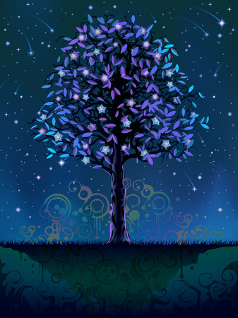 Blooming night tree (other landscapes are in my gallery) Stock Vector - 4367808