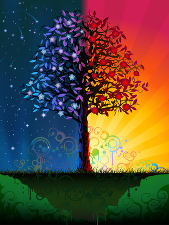Day and night tree (other landscapes are in my gallery) Illustration