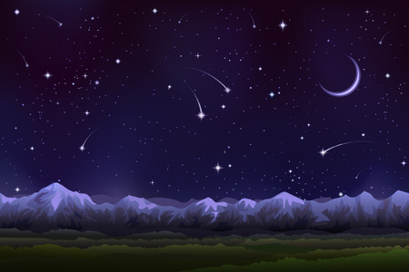 moonshine: Alpine night panorama (other landscapes are in my gallery) Illustration