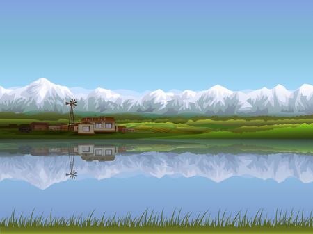 mountain scene: Alpine farm (other landscapes are in my gallery)