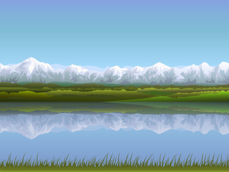Alpine panorama reflecting in clear water (other landscapes are in my gallery) Stock Vector - 4367800