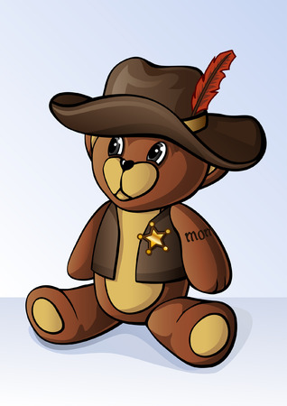 Cute little teddy bear dressed as a sheriff Vectores