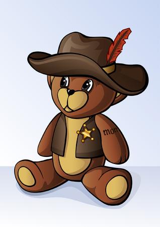 osos de peluche: Cute peque�o oso de peluche vestido como un sheriff Vectores