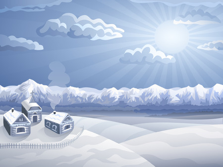 Highland village in winter (other landscapes are in my gallery) Vector