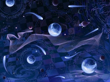 spacetime: Surrealistic space landscape Illustration