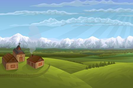 Alpine village Vectores