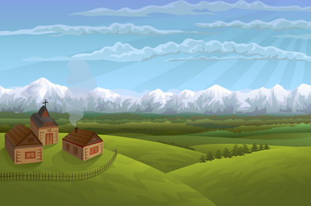 highlands region: Alpine village Illustration