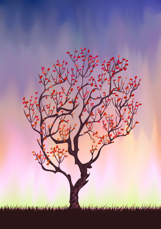 Autumn tree silhouette (other landscapes are in my gallery) Illustration