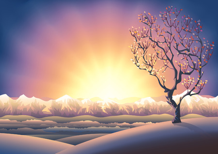 Autumn tree sunset landscape (other landscapes are in my gallery) Vector
