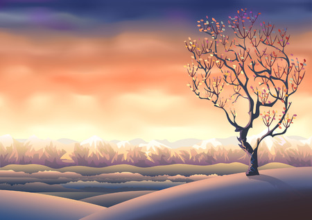 clouded sky: Autumn tree landscape (other landscapes are in my gallery) Illustration