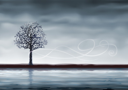 Grey tree over water (other landscapes are in my gallery) Stock Vector - 5295322