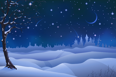 Evening winter scenery (other landscapes are in my gallery) Vector