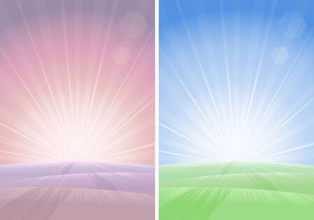 Country road leading to sunset (two variants, other landscapes are in my gallery)  Vector