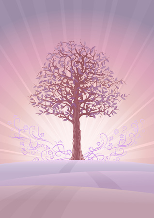 Calm pastel-colored tree scenery (other landscapes are in my gallery) Vector