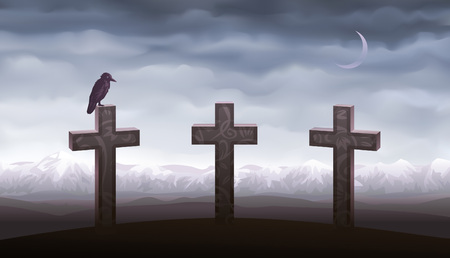 Three graves and a raven sitting on the tombstone (other landscapes are in my gallery) Illustration