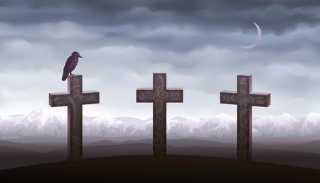 tombes: Trois tombes et un corbeau assis sur la pierre tombale (autres paysages sont dans ma gallerie)