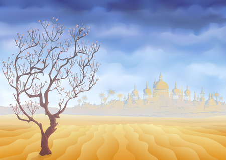 a mirage: Desert withering tree and an ancient oriental castle mirage