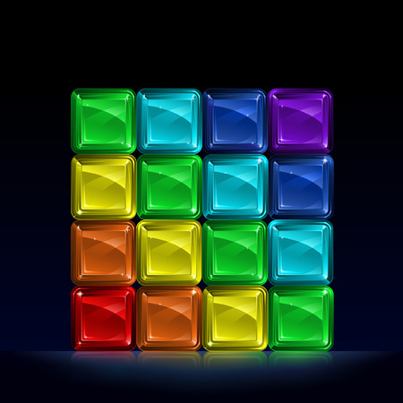 Group of colorful glass blocks forming a cube and representing seven colors of the spectrum