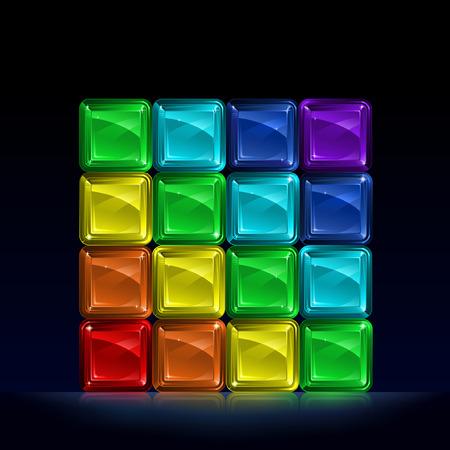 black block: Grupo de bloques de vidrio de colores que forman un cubo y en representaci�n de siete colores del espectro