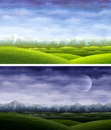 dark cloud: D�a y noche paisajes rodante Vectores
