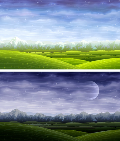 Day and night rolling landscapes Stock Vector - 5299037