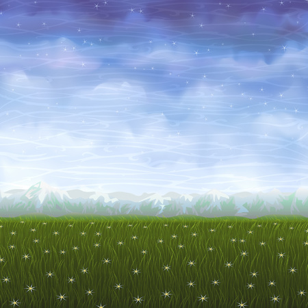 Summer meadow covered with white star flowers (other landscapes are in my gallery) Stock Vector - 5299033