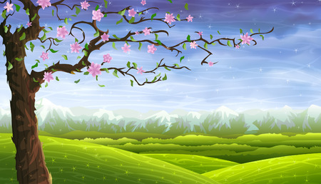rolling: Blooming fairy-tale tree in front of a colorful rolling landscape