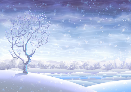 Snowy rolling winter landscape and a small tree in the foreground Vector