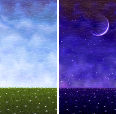 대기의: Summer grassy vertical day and night landscapes