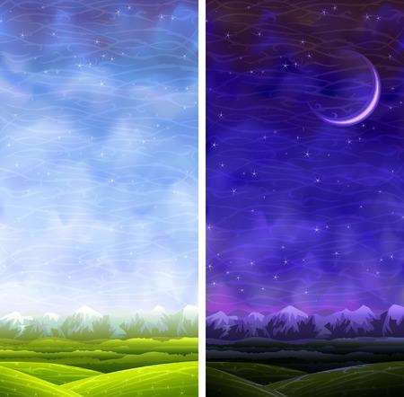 tag und nacht: Sommer fortlaufenden vertikalen Tag und Nacht Landschaften Illustration
