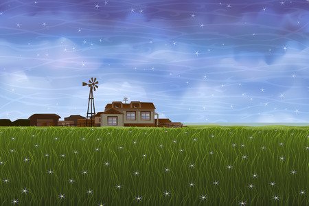 Summer rural landscape - small farm over green meadow