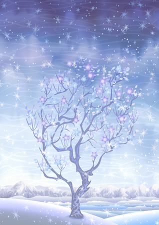 Blooming winter fairy-tale tree behind the falling snow (other landscapes are in my gallery) Illustration