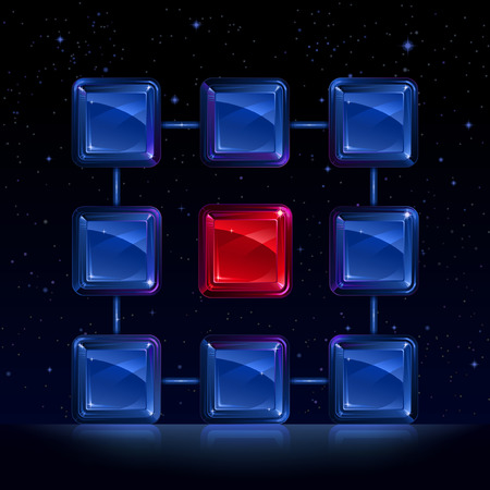 Group of blue square glass blocks surrounding the red block Stock Vector - 5353490