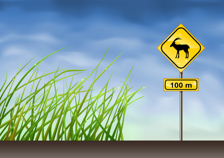 Goats warning sign (other landscapes are in my gallery) Vector