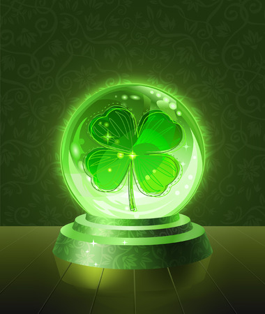 predict: Lucky four-leaf clover seen inside the crystal scrying ball