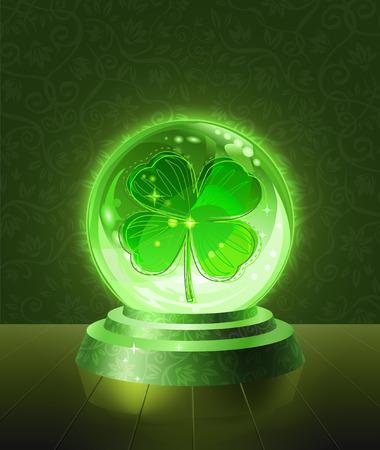 Lucky four-leaf clover seen inside the crystal scrying ball