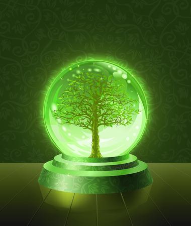 ボールの内部に結晶 scrying 見られる緑の木