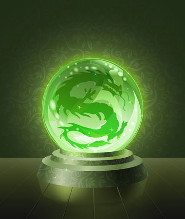 Asian dragon seen inside the crystal scrying ball Vector