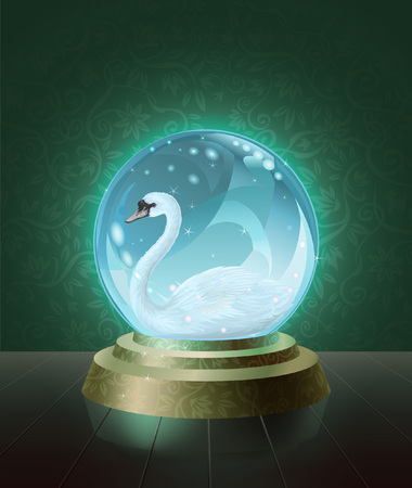 scrying: Graceful mute swan (Cygnus olor) seen inside the crystal scrying ball Illustration