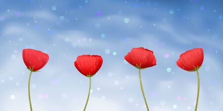 Four red poppy-flowers on blue sparkling background Vector