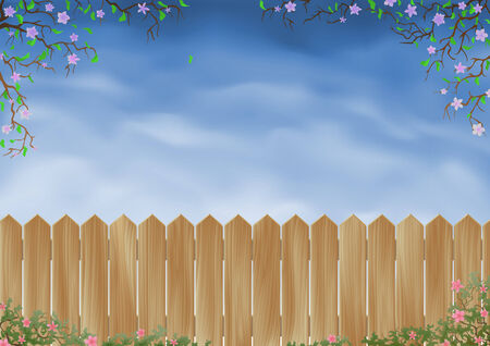 Wooden garden fence surrounded by flowers Stock Vector - 6082462