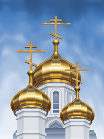 Russian orthodox church cupolas Stock Vector - 6082465
