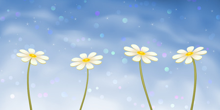 Four camomiles on blue sky background