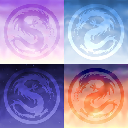 Four china sky dragons - morning, day, evening and night Vectores