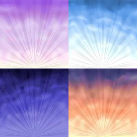 정오: Four gradient mesh backgrounds - morning, day, evening and night 일러스트