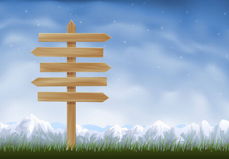 Wooden sign post with arrows pointing to opposite directions Stock Vector - 6096858