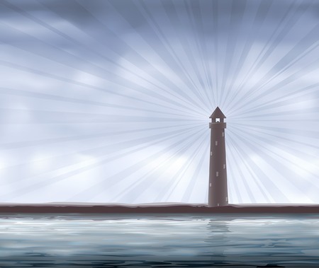 Lighthouse on the seashore (other landscapes are in my gallery) Illustration